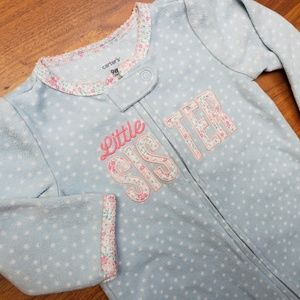 Little sister baby girl fleece footie pajama